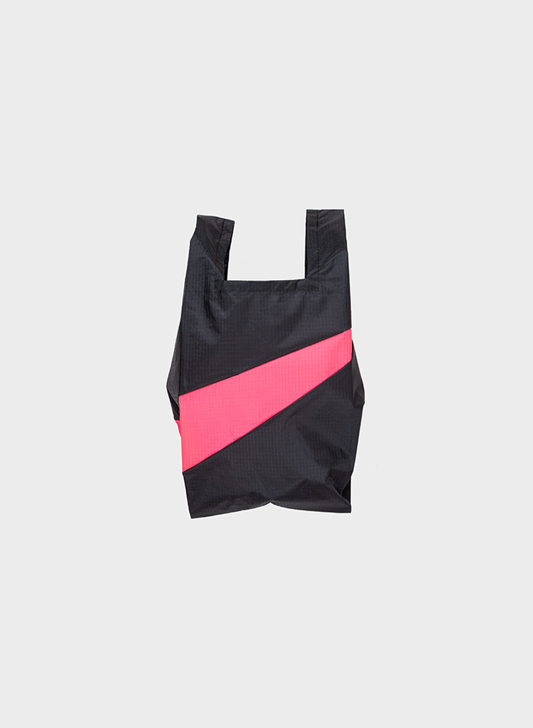 SUSAN BIJL Shopping Bag Black & Fluo Pink