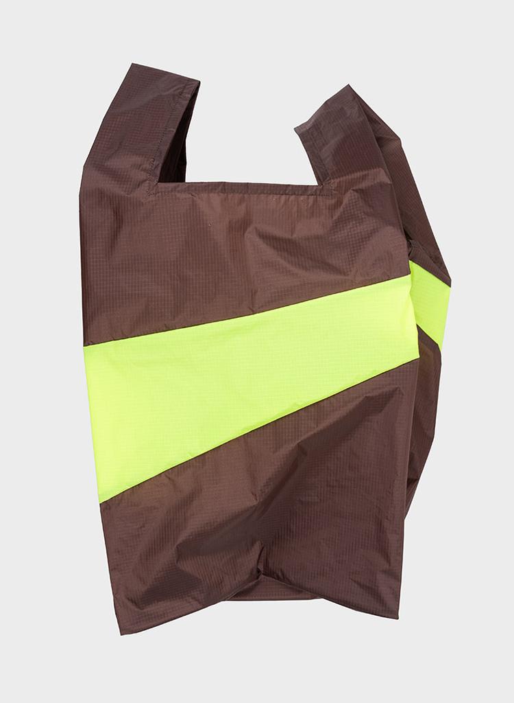 SUSAN BIJL Shopping Bag Brown & Fluo Yellow