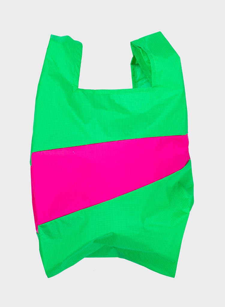 SUSAN BIJL Shopping Bag Greenscreen & Pretty Pink