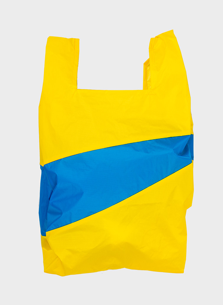 SUSAN BIJL Shopping Bag TV Yellow & Blueback