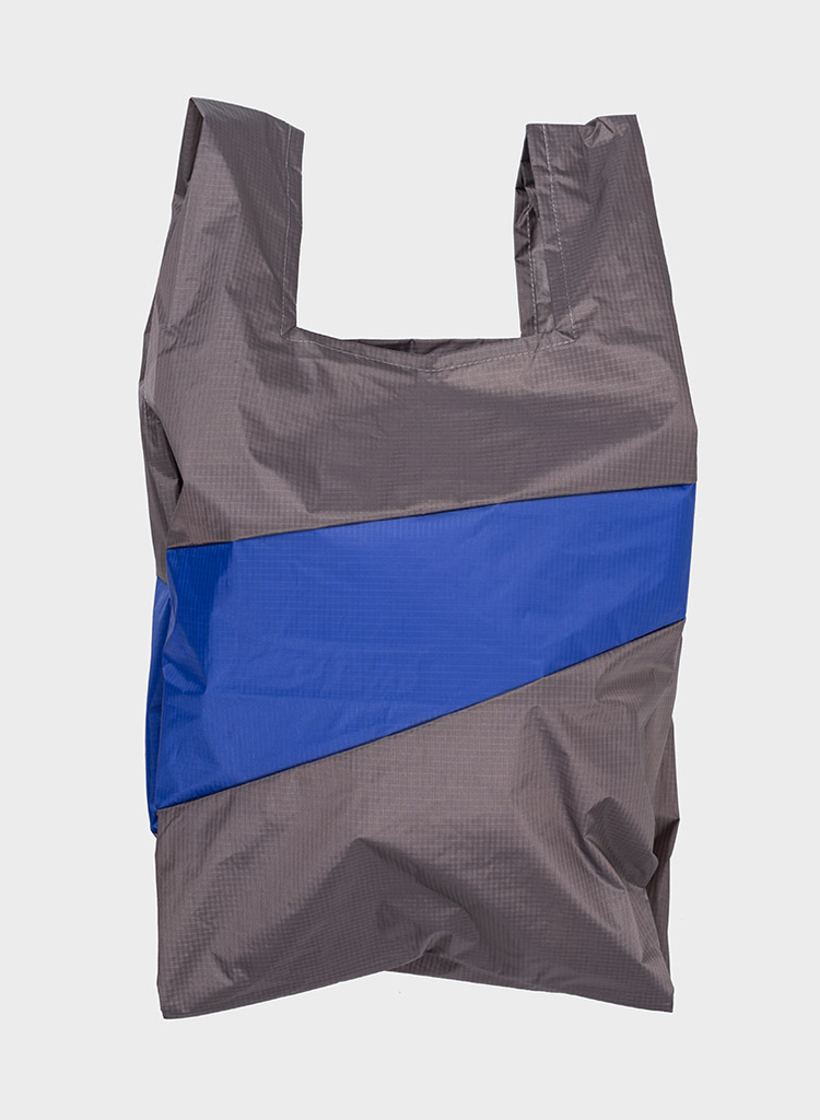 SUSAN BIJL Shopping Bag Warm Grey & Electric Blue