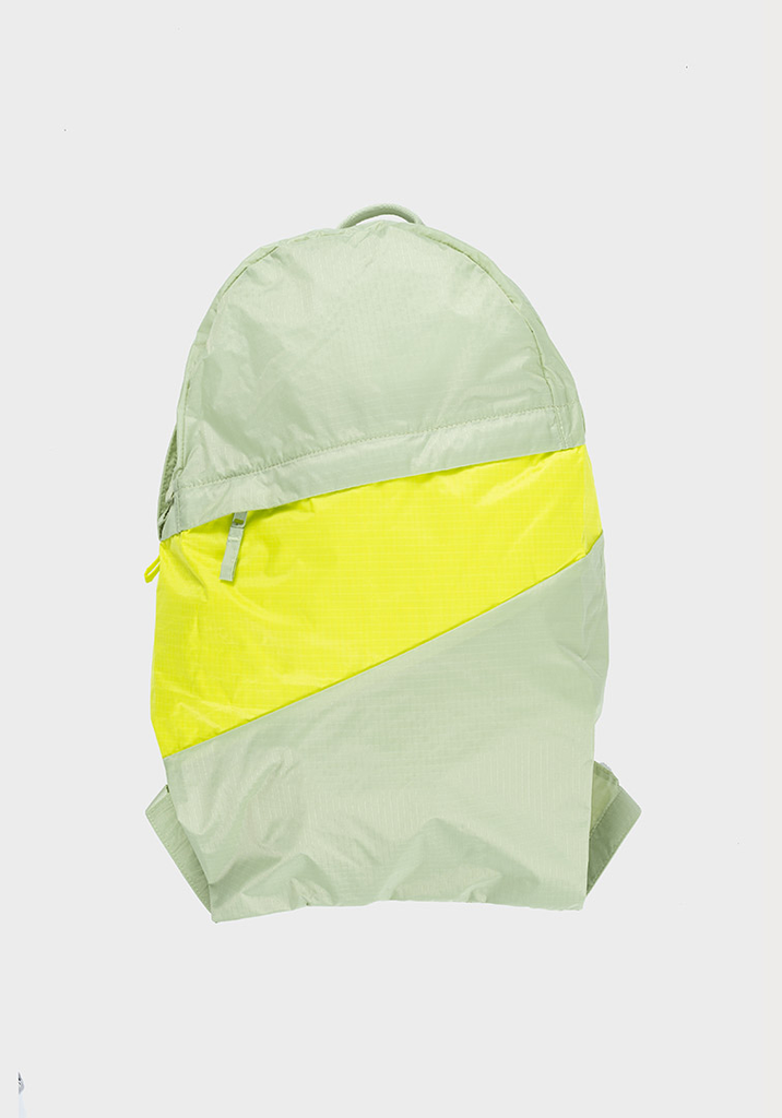 SUSAN BIJL Foldable Backpack Pistachio & Fluo Yellow
