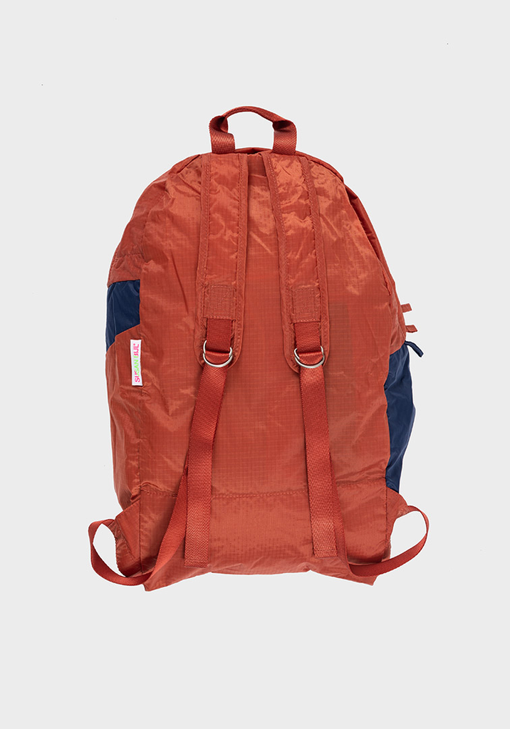 SUSAN BIJL Foldable Backpack Rust & Ocean