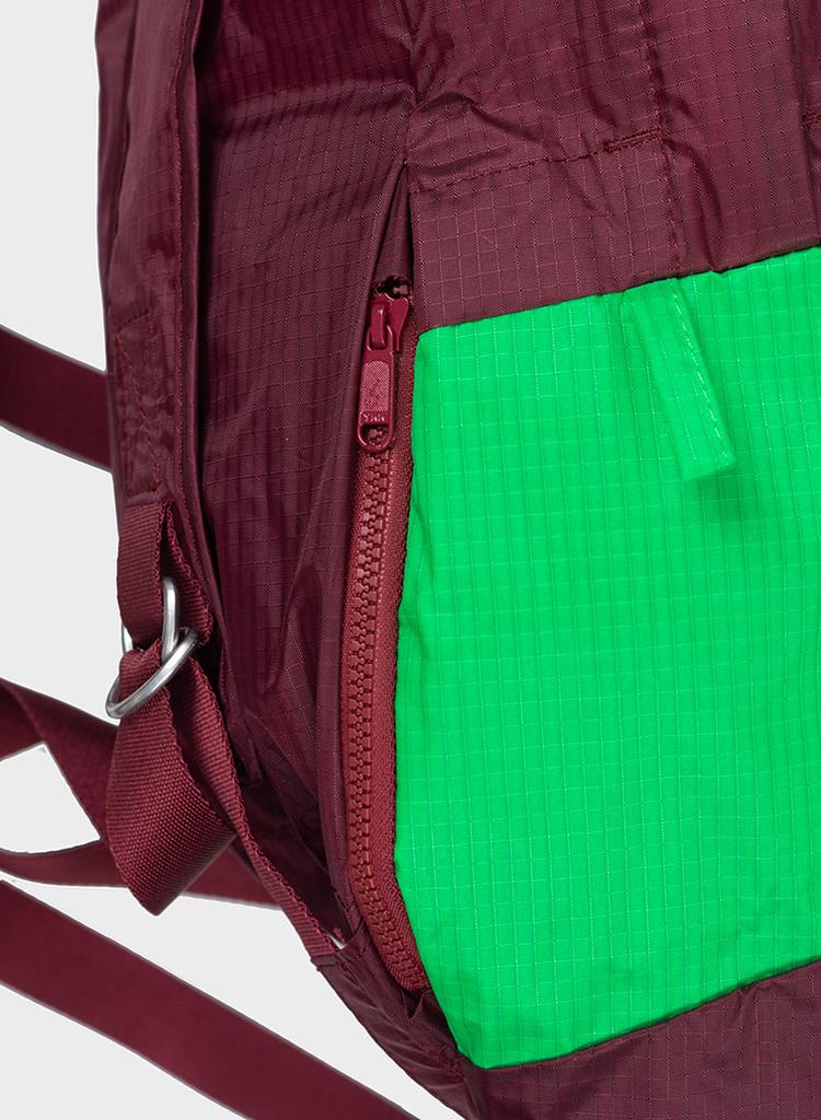 SUSAN BIJL Foldable Backpack Burgundy & Greenscreen