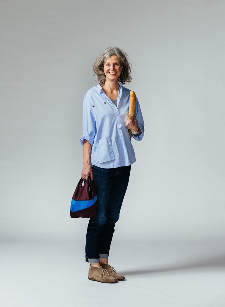 SUSAN BIJL Shopping Bag Burgundy & Sky Blue