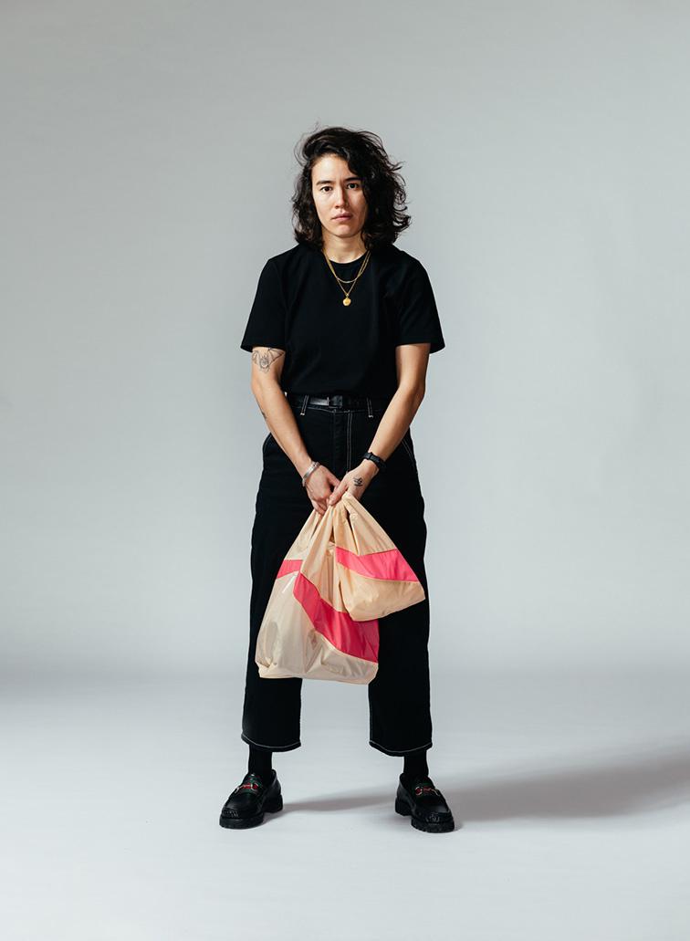 SUSAN BIJL Shopping Bag Peach & Fluo Pink