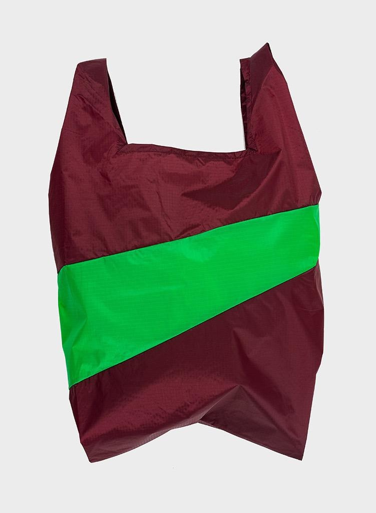 SUSAN BIJL Shopping Bag Burgundy & Greenscreen