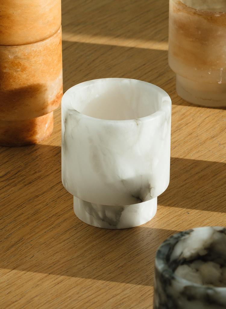 Michaël Verheyden White Alabaster Tlight Holder S (Michaël Verheyden)