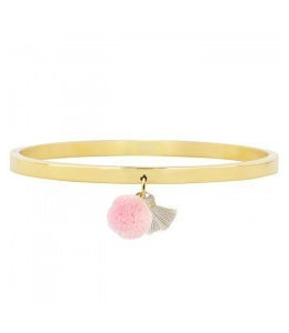 MY JEWELLERY POMPON & TASSEL BANGLE GOLD -GREY/PINK