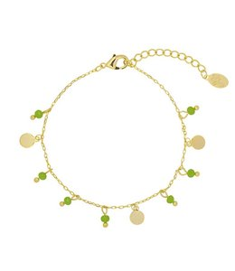 GREEN BEADED BRACELET GOLD