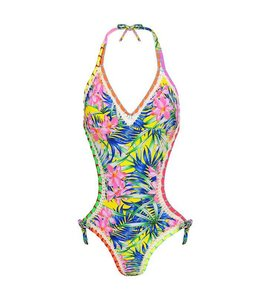TROPICAL FLOWER SWIMSUIT YELLOW