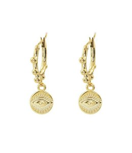 MY JEWELLERY EARRING ROUND EYE DOTS GOLD