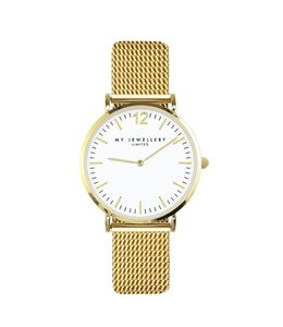MY JEWELLERY MEDIUM MESH WATCH WHITE/GOLD