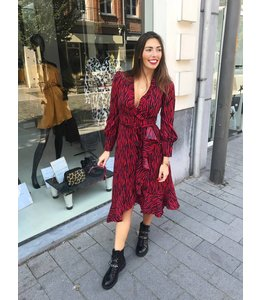 KAYLEE ZEBRA RED DRESS