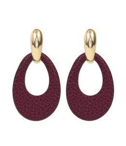 MY JEWELLERY LEATHER STATEMENT EARRINGS RED