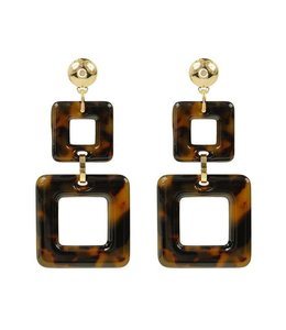 MY JEWELLERY DOUBLE SQUARE EARRINGS BROWN