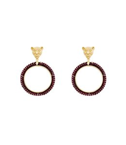 KITTY KAT 2.0 EARRINGS GOLD/RED