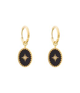 MILORD EARRINGS GOLD/BLACK
