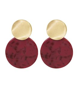 MY JEWELLERY RED SHELL EARRING GOLD