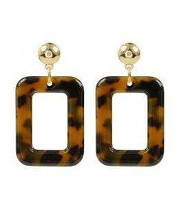 MY JEWELLERY SQUARE EARRINGS BROWN/GOLD