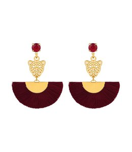CLEO PANTHER EARRINGS RED/GOLD