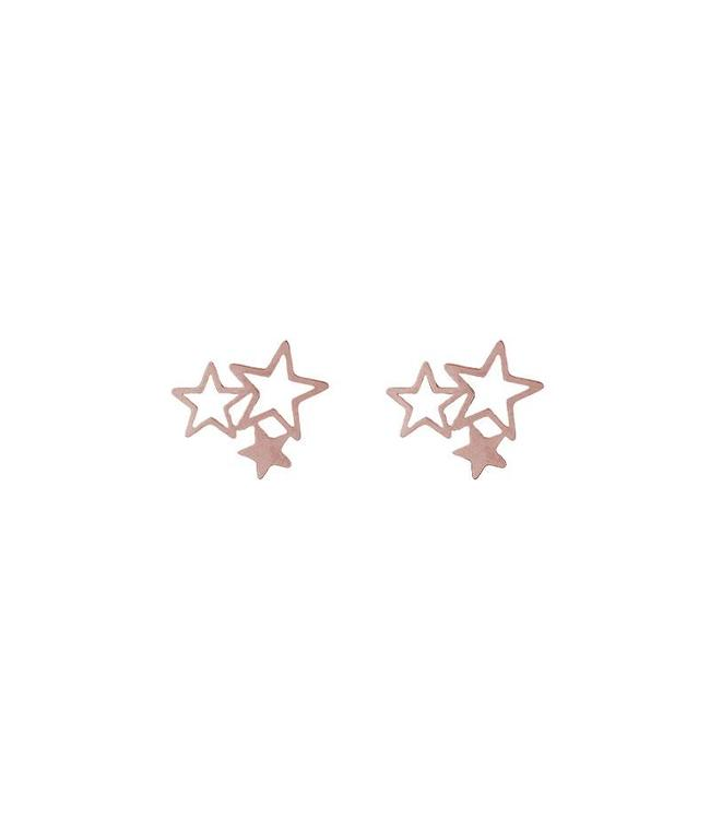 TRIPLE STARS STUD EARRINGS ROSE
