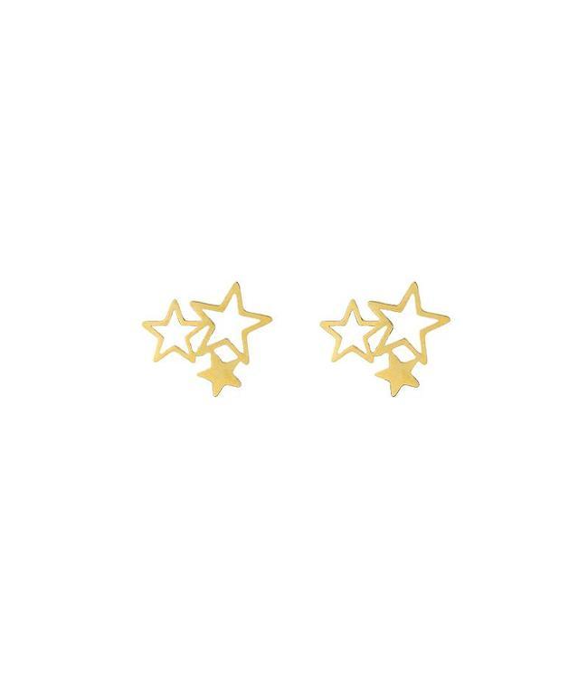 TRIPLE STARS STUD EARRINGS GOLD