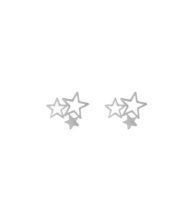 TRIPLE STARS STUD EARRINGS SILVER