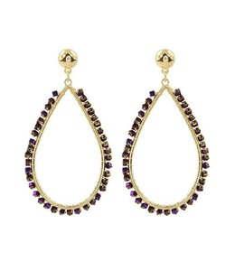 MY JEWELLERY CRYSTAL TEARDROP EARRING PURPLE