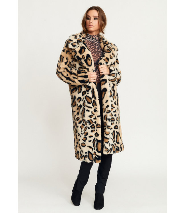 NOVA FAUX FUR LONG JACKET LEO