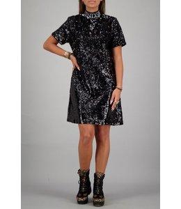 REINDERS TURTLENECK DRESS SEQUINS TRUE BLACK