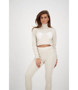 REINDERS CROP TOP TURTLENECK HEADLOGO'S CREME
