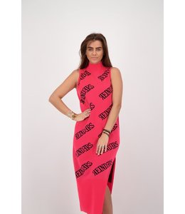 REINDERS DRESS ALL OVER PRINT SHORT NEON PINK