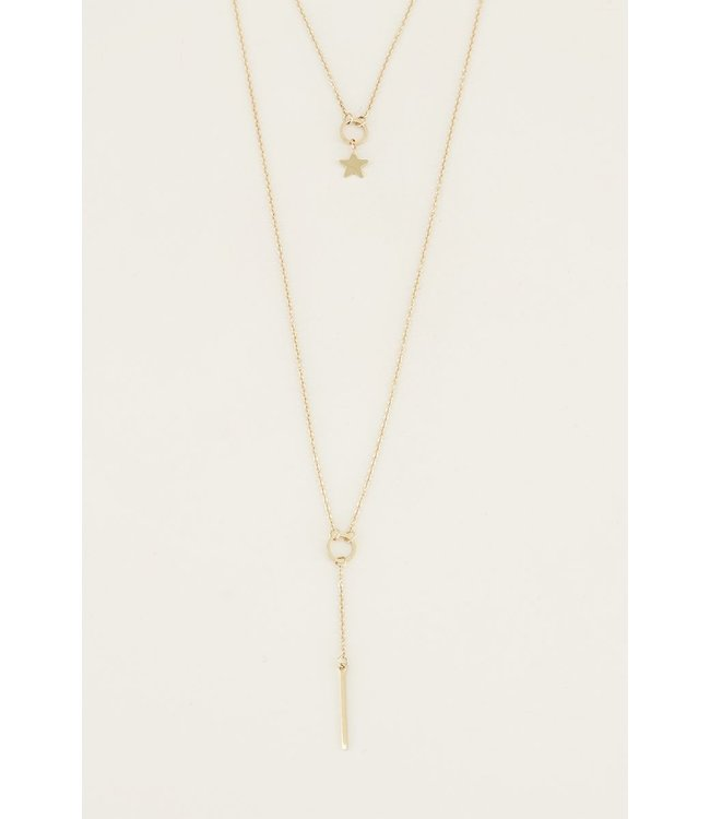 MY JEWELLERY DUBBELE KETTING STAAFJE & STER GOUD