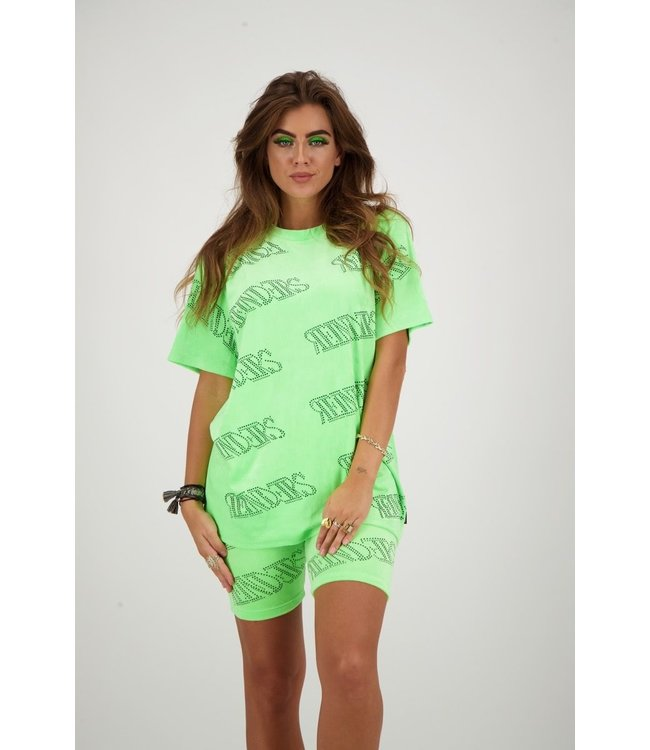 REINDERS T-SHIRT VELVET REINDERS ALL OVER PRINT NEON GREEN