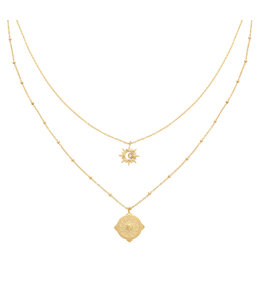 DUBBELE KETTING COMPASS STAR GOUD