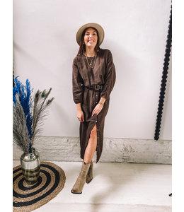 HAILEY LONG DRESS BROWN
