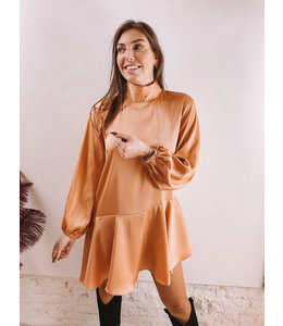 ANI ASYMMETRIC SMOCK DRESS ORANGE
