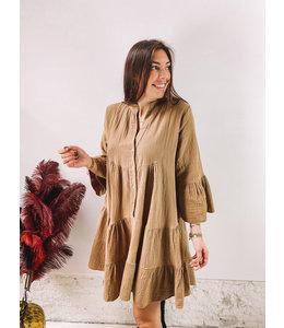 LINA LINNEN DRESS BROWN