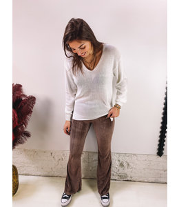 LENA VELVET FLAIR PANTS BROWN