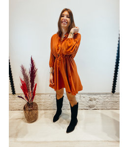 MELISSA DRAWSTRING DRESS RUST