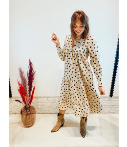 DOTTY DAY DRESS BEIGE POLKA DOT