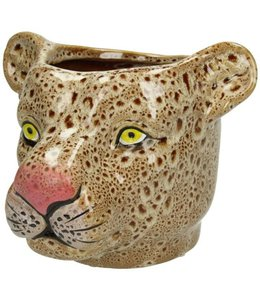 VASE LEOPARD LARGE BROWN