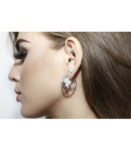 REINDERS HEADLOGO HOOPS SMALL DIAMONDS SILVER