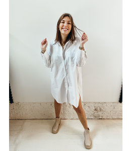CLEO SHIRT DRESS - WHITE
