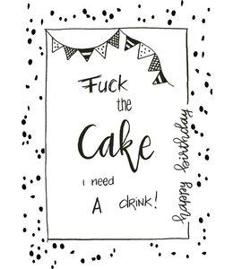 POSTCARD FUCK THE CAKE DOTS
