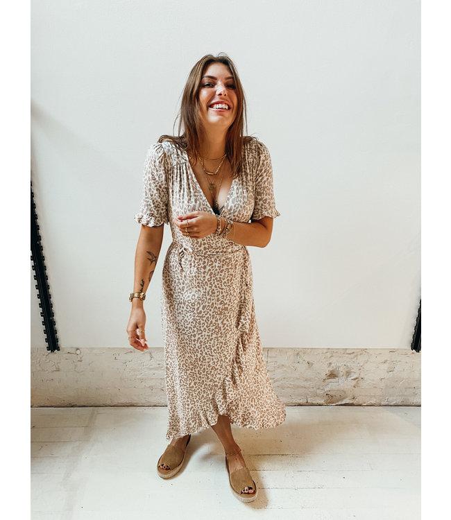 GIORGIA LEOPARD RUFFLE DRESS  - BEIGE