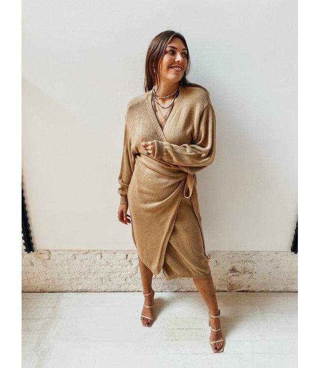 JESSIE WRAP KNIT DRESS - CAMEL