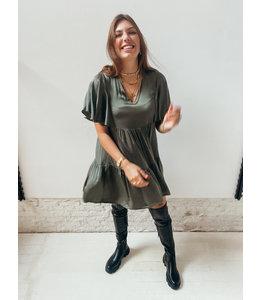 KYANA RUFFLE SATIN DRESS - KHAKI