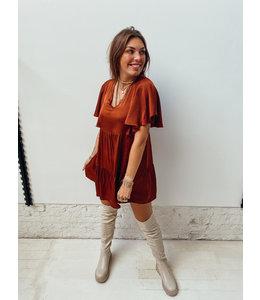 KYANA RUFFLE SATIN DRESS - BROWN
